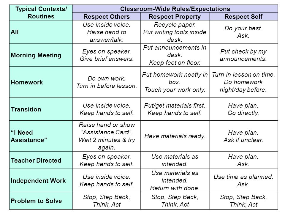 Typical Contexts/ Routines Classroom-Wide Rules/Expectations Respect OthersRespect PropertyRespect Self All Use inside voice.