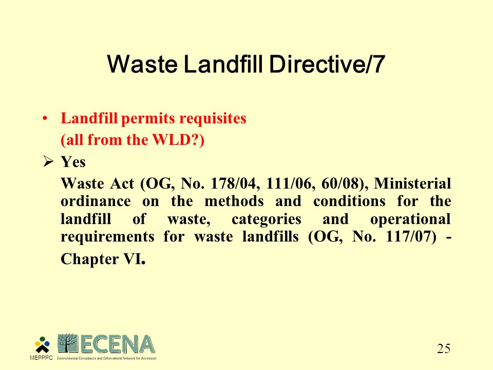 25 Waste Landfill Directive/7 Landfill permits requisites (all from the WLD )  Yes Waste Act (OG, No.