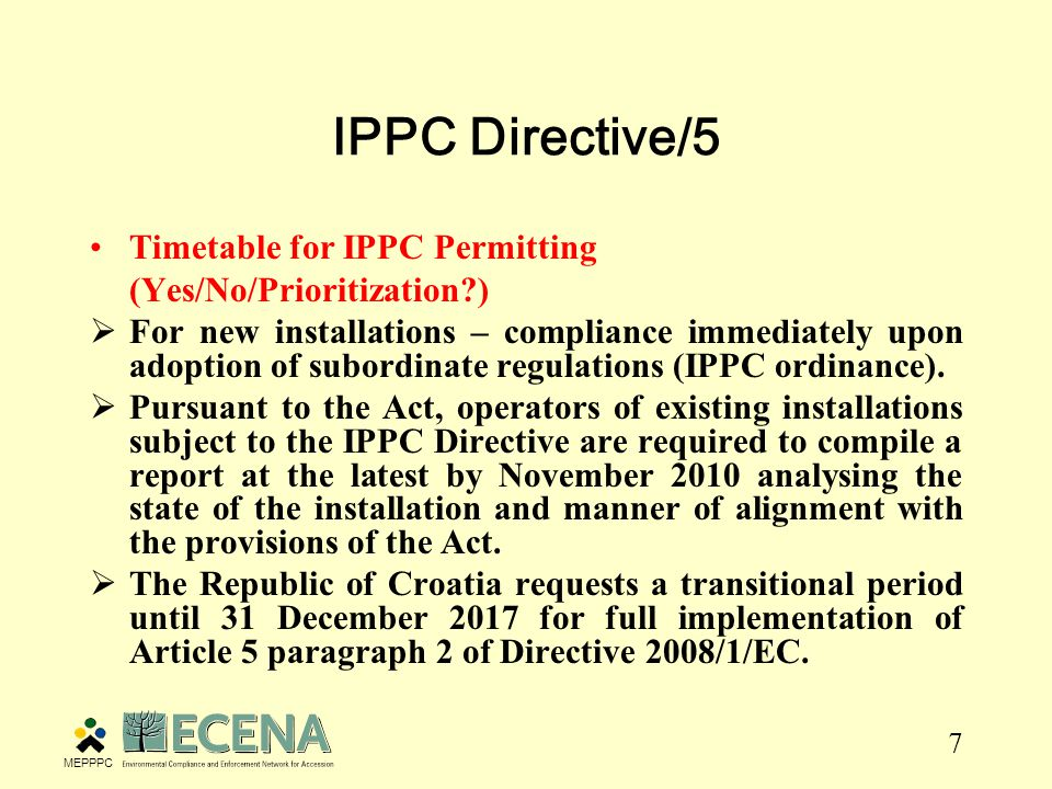 8 IPPC Directive/6 Best Available Techniques (Translations available.