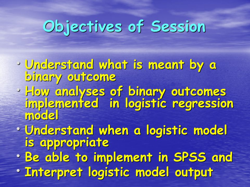 Fit Logistic Regression Model Dependent is binary outcome – LDL target met (Yes = 1, No = 0) Independent – Gender 1 = M, 2 = F Should get same as the crosstabs result Select Analyze / Regression / Binary Logistic Select option of 95% CI for exp (b)