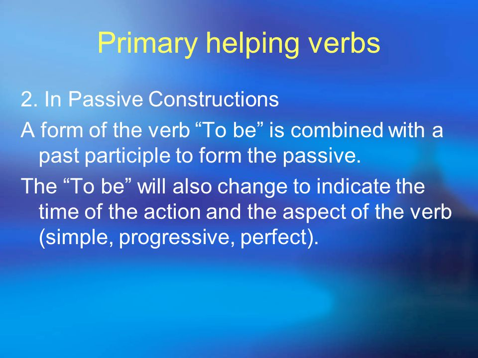 Primary helping verbs  As a negative statement, a modal is combined with not + have + a past participle to express how certain you are that something did not happen: Clinton might not have known about the gifts.