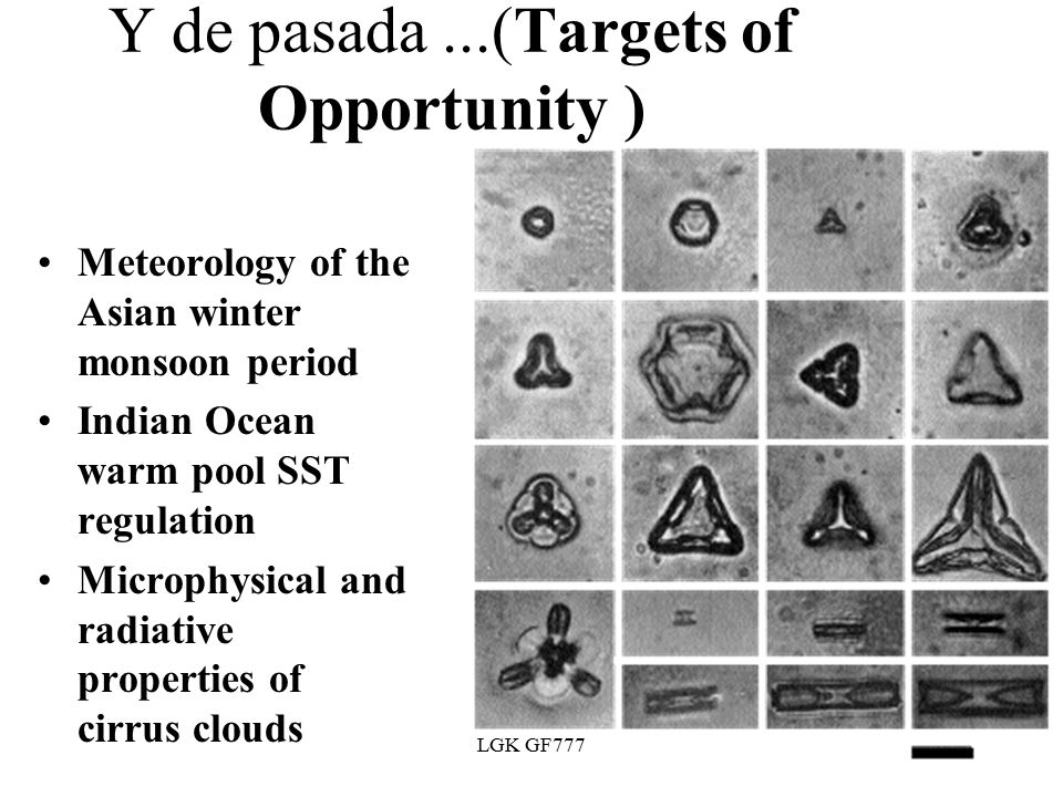 LGK GF777 Y de pasada...(Targets of Opportunity ) Meteorology of the Asian winter monsoon period Indian Ocean warm pool SST regulation Microphysical and radiative properties of cirrus clouds