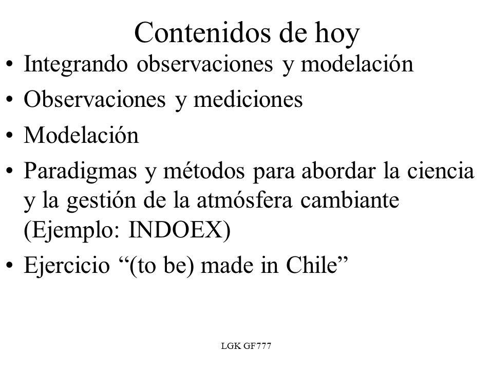 LGK GF777 Contenidos de hoy Integrando observaciones y modelación Observaciones y mediciones Modelación Paradigmas y métodos para abordar la ciencia y la gestión de la atmósfera cambiante (Ejemplo: INDOEX) Ejercicio (to be) made in Chile