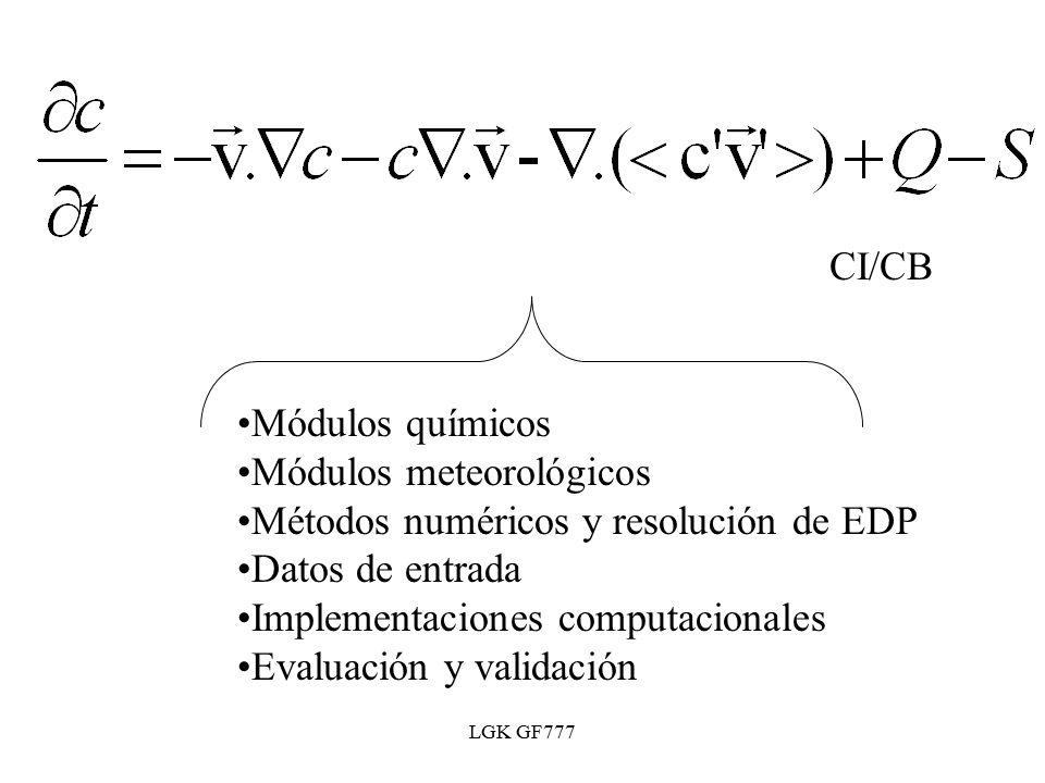 LGK GF777 Módulos químicos Módulos meteorológicos Métodos numéricos y resolución de EDP Datos de entrada Implementaciones computacionales Evaluación y validación CI/CB