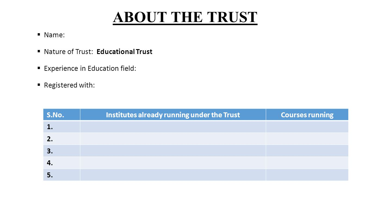 ABOUT THE TRUST  Name:  Nature of Trust: Educational Trust  Experience in Education field:  Registered with: S.No.Institutes already running under the TrustCourses running 1.