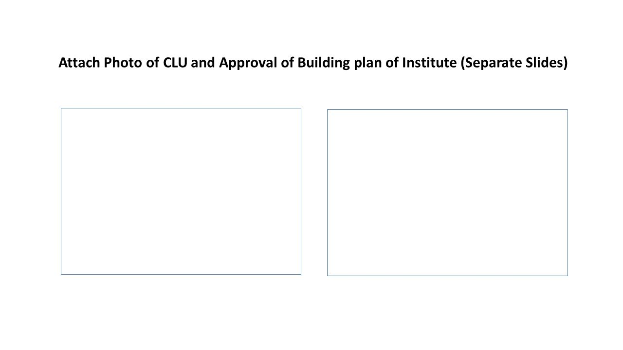 Attach Photo of CLU and Approval of Building plan of Institute (Separate Slides)