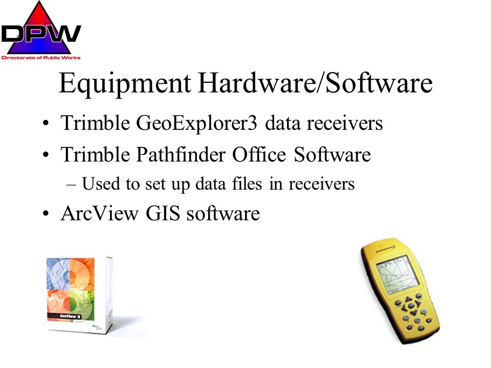 Equipment Hardware/Software Trimble GeoExplorer3 data receivers Trimble Pathfinder Office Software –Used to set up data files in receivers ArcView GIS