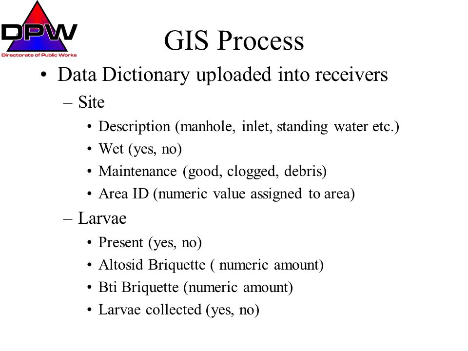 Process Data is collected in the field by technicians and entered into receivers Data is downloaded from receivers back at office Data is exported into ArcView shapefiles –Data can be queried by attributes through ArcView to select any known value in data dictionary and displayed on aerial overheads of the installation or installation CAD drawings