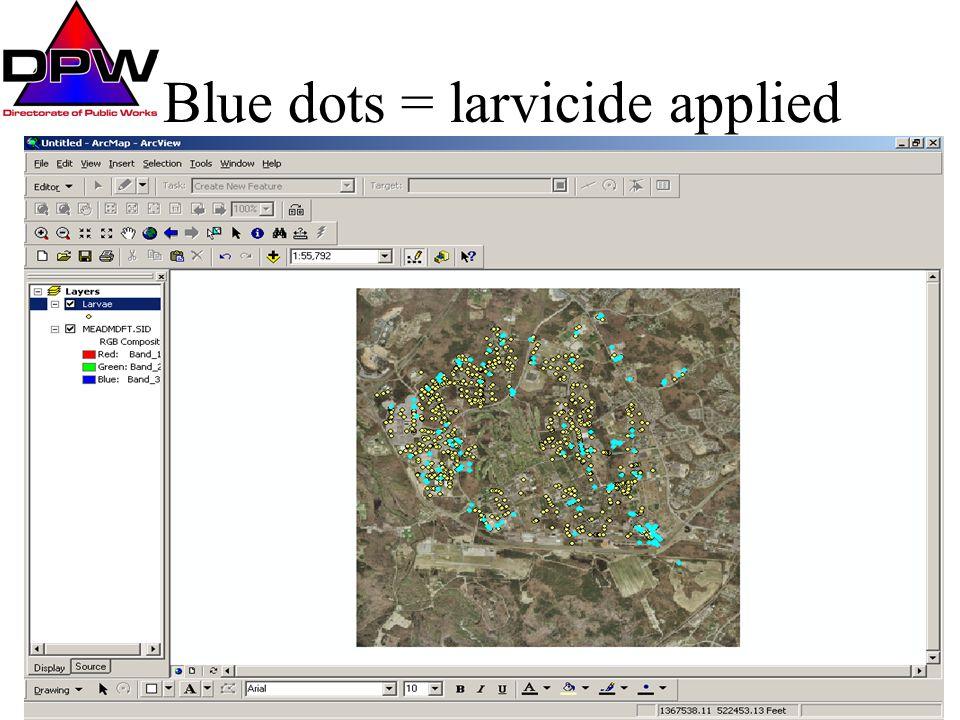 Blue dots = larvicide applied
