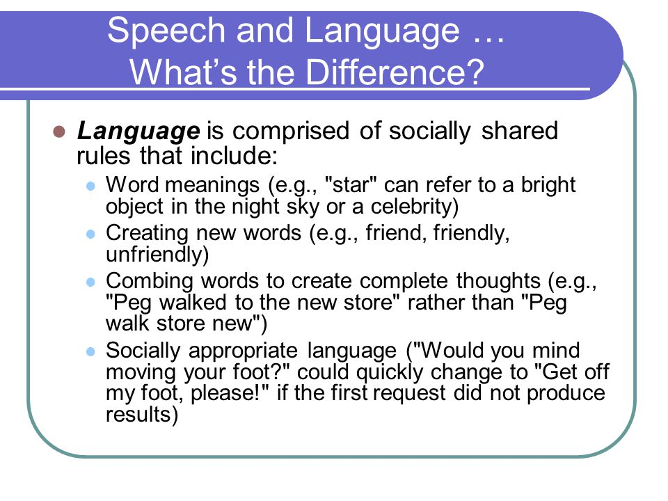 Speech and Language … What's the Difference.