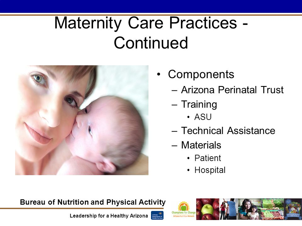 Bureau of Nutrition and Physical Activity Leadership for a Healthy Arizona Maternity Care Practices - Continued Components –Arizona Perinatal Trust –Training ASU –Technical Assistance –Materials Patient Hospital