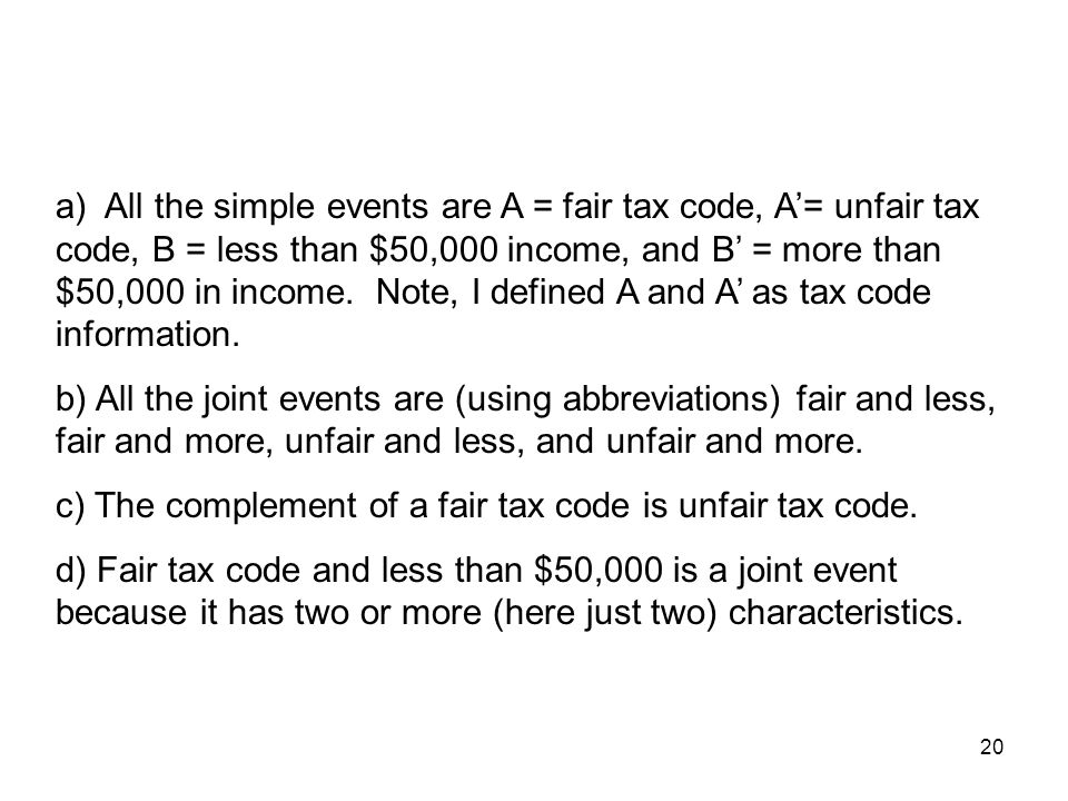 20 a) All the simple events are A = fair tax code, A'= unfair tax code, B = less than $50,000 income, and B' = more than $50,000 in income.