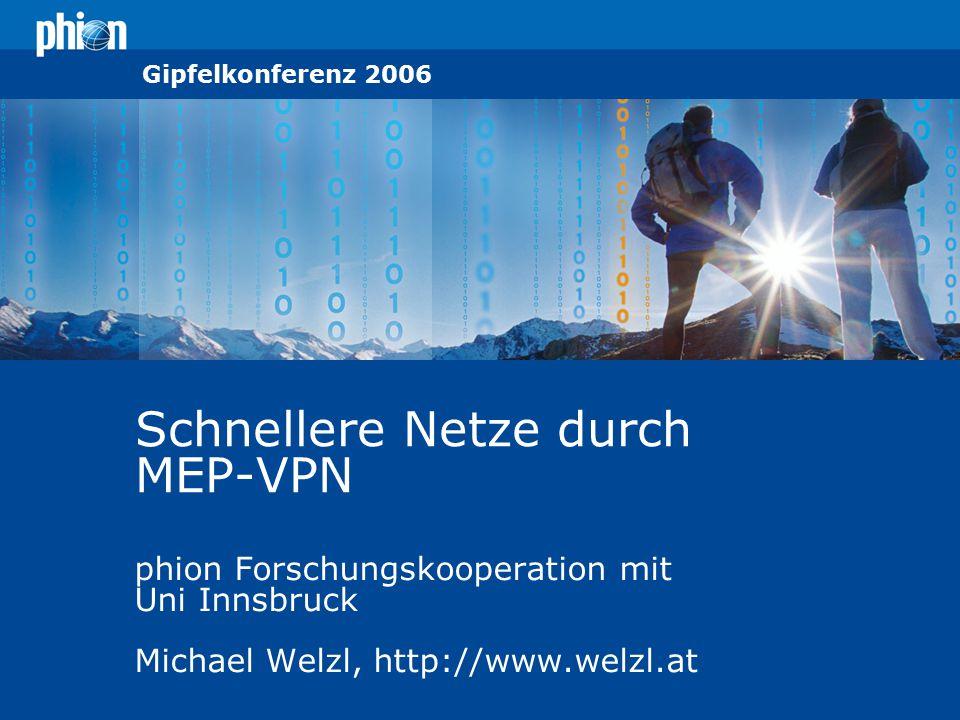 © phion Information Technologies 2005 Gipfelkonferenz 2006 Schnellere Netze durch MEP-VPN phion Forschungskooperation mit Uni Innsbruck Michael Welzl,