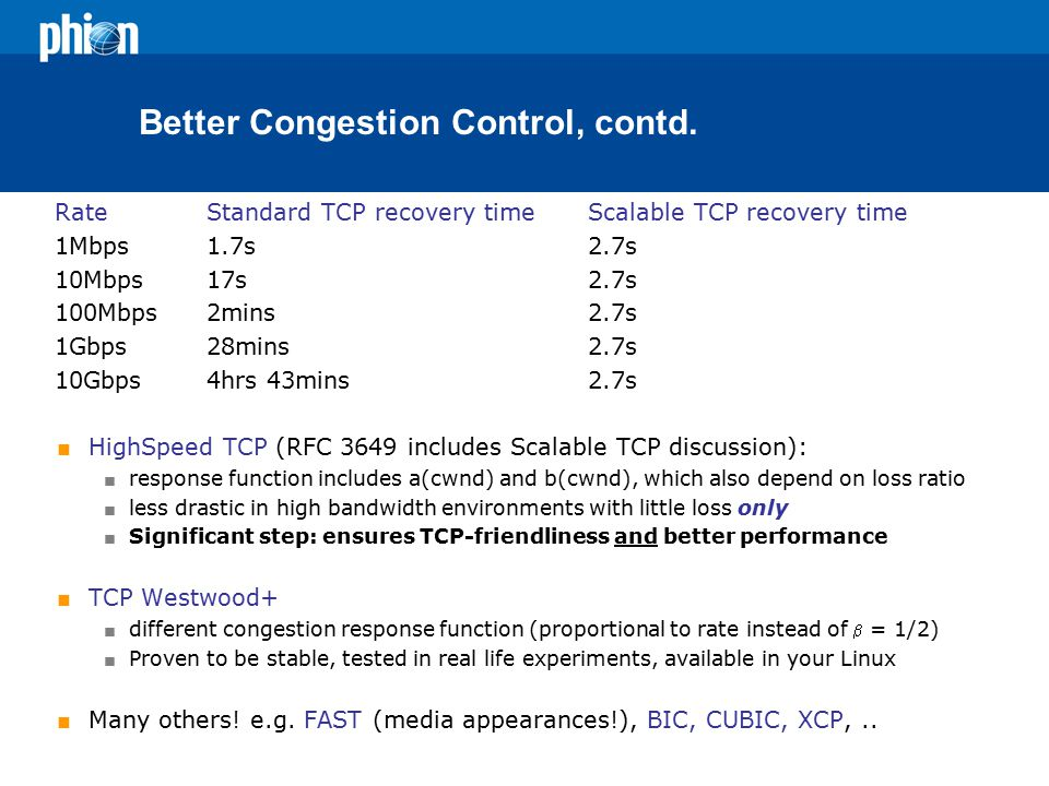 Better Congestion Control, contd.