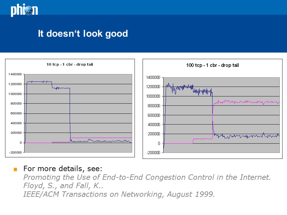 It doesn't look good  For more details, see: Promoting the Use of End-to-End Congestion Control in the Internet.