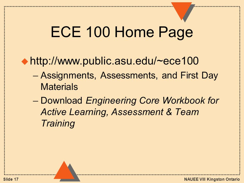 NAUEE VIII Kingston OntarioSlide 17 ECE 100 Home Page u http://www.public.asu.edu/~ece100 –Assignments, Assessments, and First Day Materials –Download Engineering Core Workbook for Active Learning, Assessment & Team Training