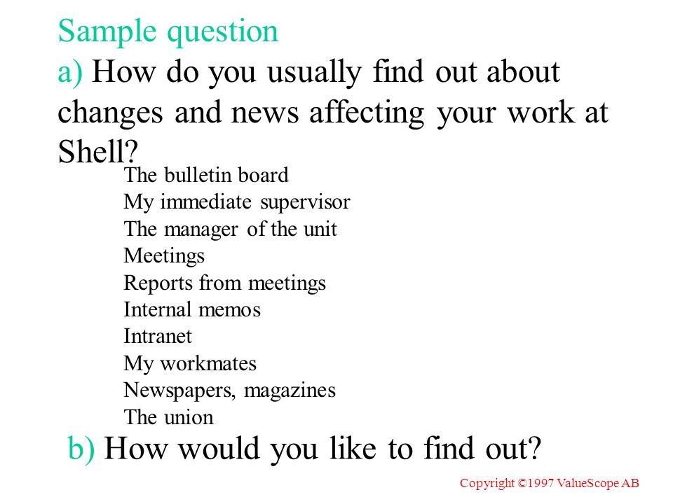 Sample question a) How do you usually find out about changes and news affecting your work at Shell.