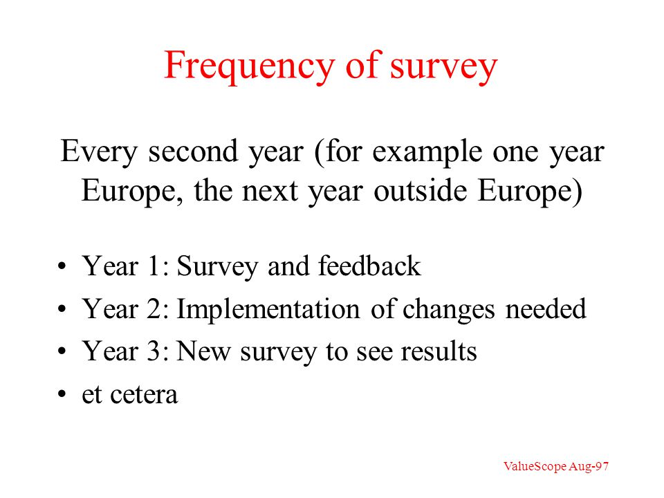 Every second year (for example one year Europe, the next year outside Europe) Year 1: Survey and feedback Year 2: Implementation of changes needed Year 3: New survey to see results et cetera Frequency of survey ValueScope Aug-97