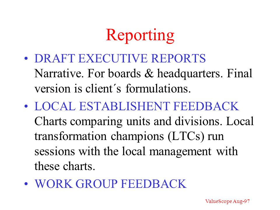 Work group feedback Each head of a work unit gets about 10 charts of this type for feedback discussion with his unit Work unit x Operating unit in which x is a part Bench mark unit (> 10 respondents)(e.g.