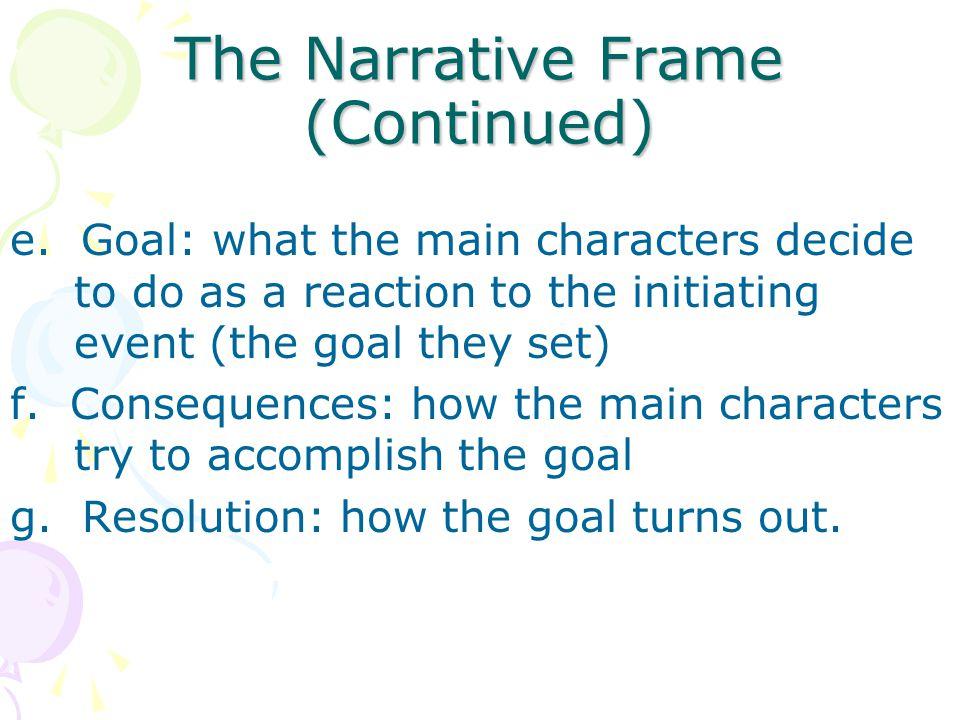 The Narrative Frame (Continued) e.