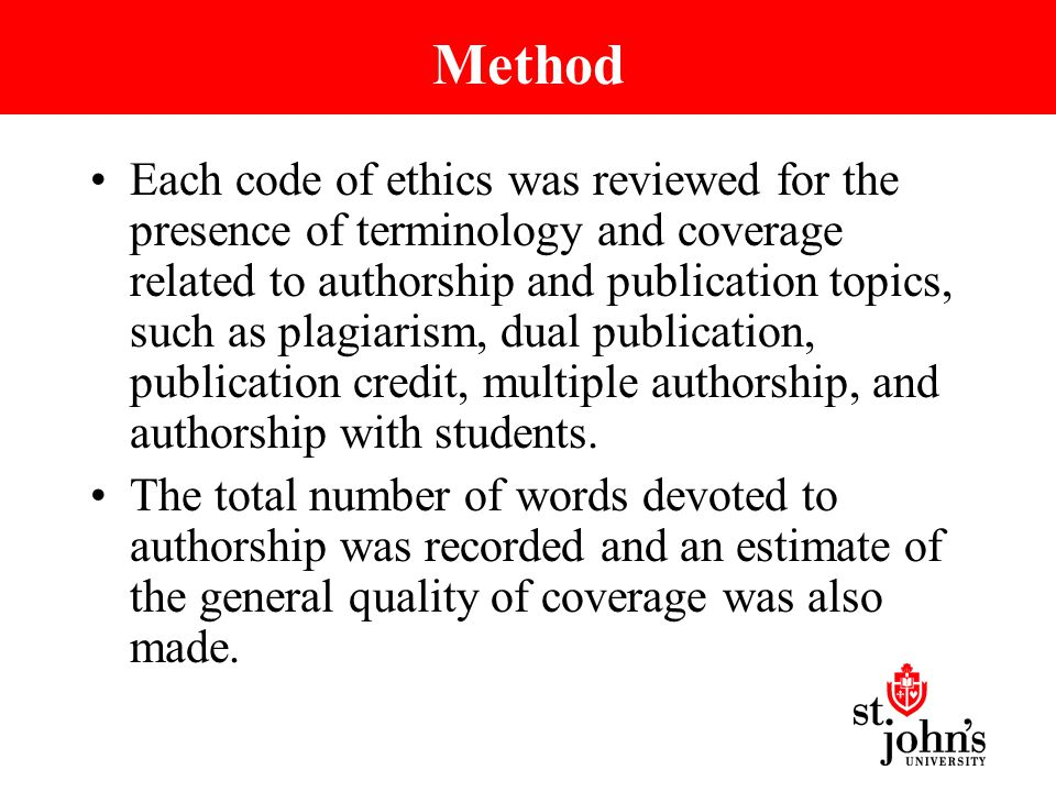 Method Each code of ethics was reviewed for the presence of terminology and coverage related to authorship and publication topics, such as plagiarism, dual publication, publication credit, multiple authorship, and authorship with students.