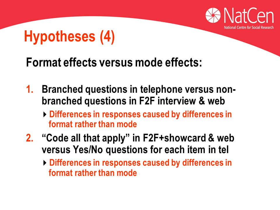 Hypotheses (4) Format effects versus mode effects: 1.Branched questions in telephone versus non- branched questions in F2F interview & web  Differences in responses caused by differences in format rather than mode 2. Code all that apply in F2F+showcard & web versus Yes/No questions for each item in tel  Differences in responses caused by differences in format rather than mode