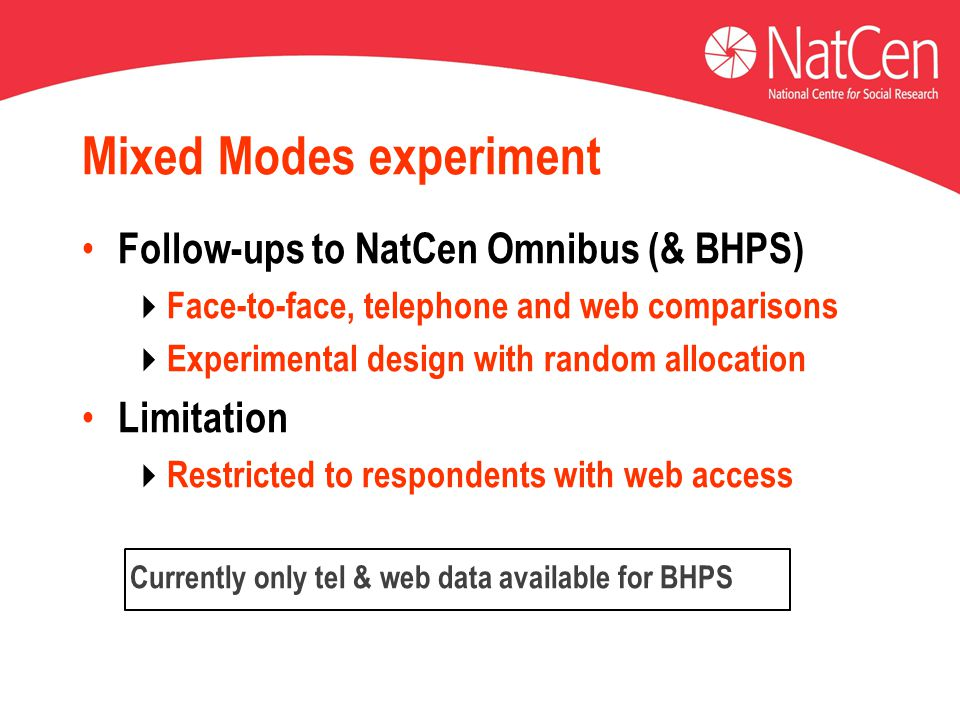 Mixed Modes experiment Follow-ups to NatCen Omnibus (& BHPS)  Face-to-face, telephone and web comparisons  Experimental design with random allocation Limitation  Restricted to respondents with web access Currently only tel & web data available for BHPS