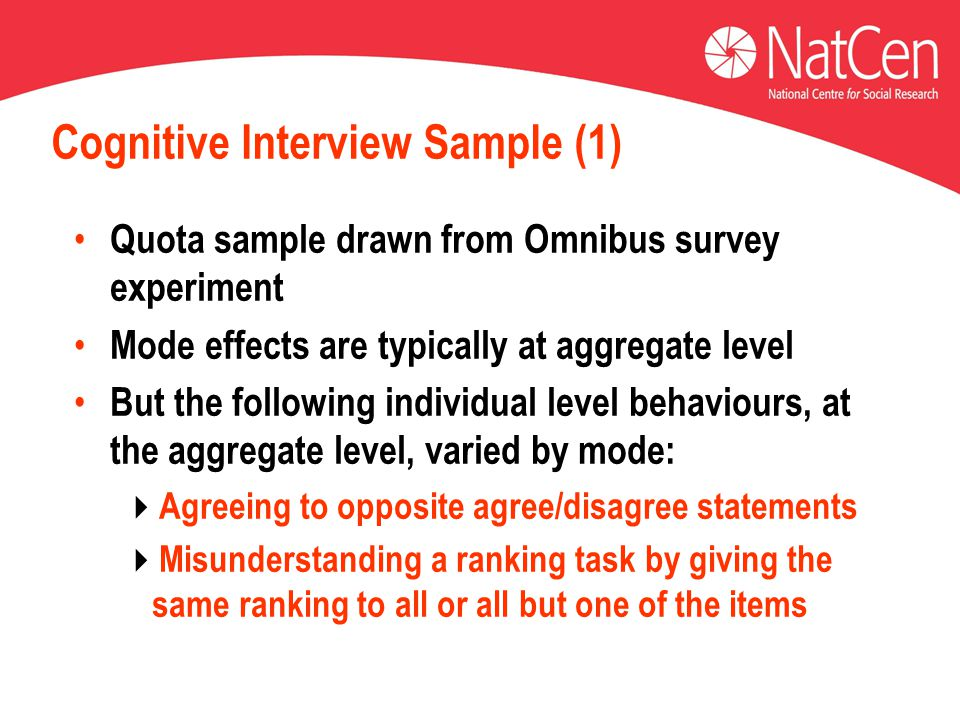 Cognitive Interview Sample (1) Quota sample drawn from Omnibus survey experiment Mode effects are typically at aggregate level But the following individual level behaviours, at the aggregate level, varied by mode:  Agreeing to opposite agree/disagree statements  Misunderstanding a ranking task by giving the same ranking to all or all but one of the items