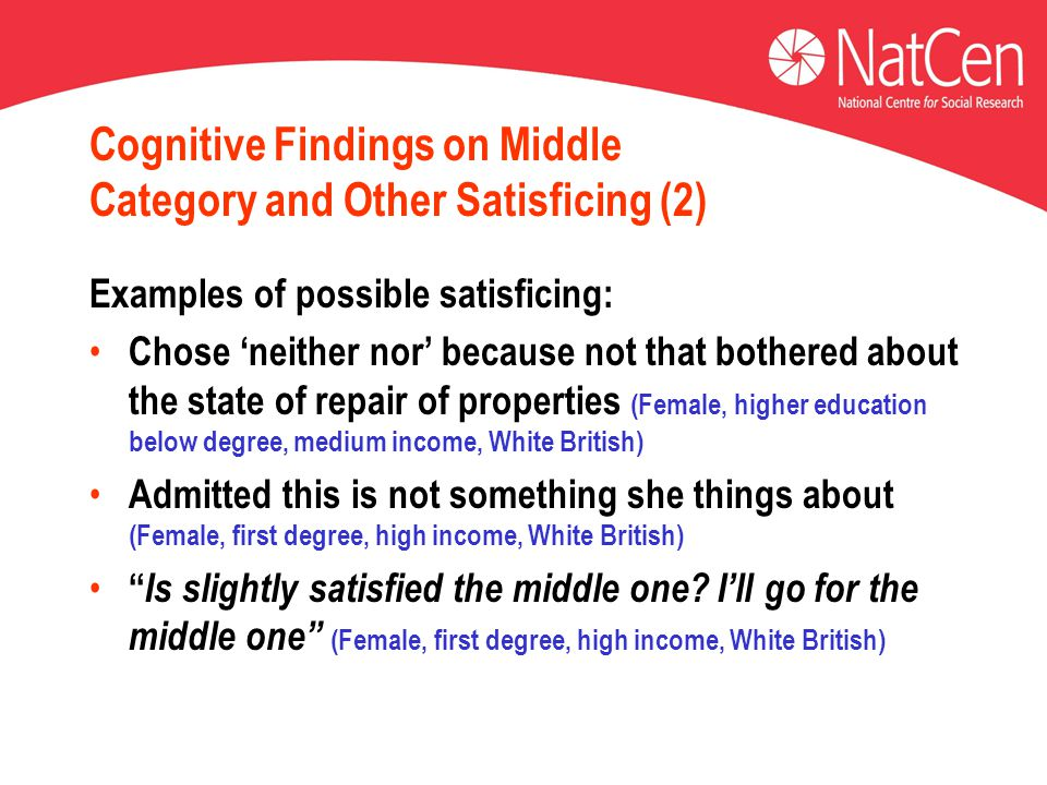 Cognitive Findings on Middle Category and Other Satisficing (2) Examples of possible satisficing: Chose 'neither nor' because not that bothered about the state of repair of properties (Female, higher education below degree, medium income, White British) Admitted this is not something she things about (Female, first degree, high income, White British) Is slightly satisfied the middle one.