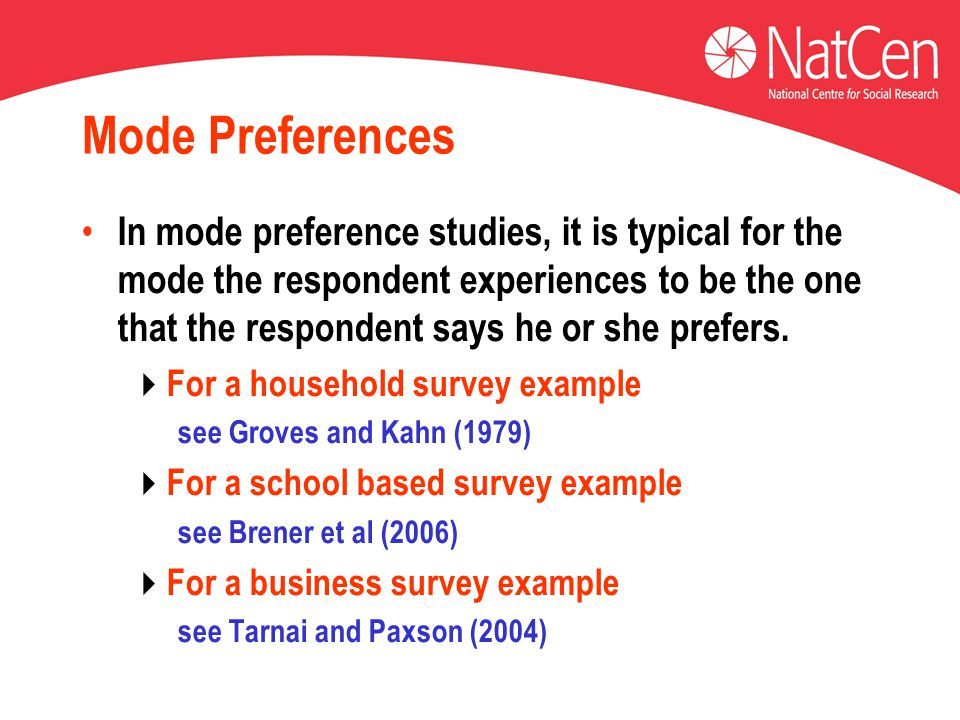 Mode Preferences In mode preference studies, it is typical for the mode the respondent experiences to be the one that the respondent says he or she prefers.