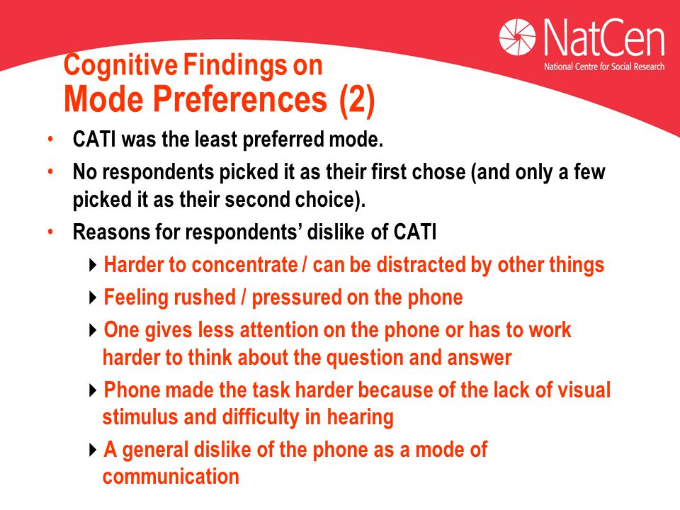 Cognitive Findings on Mode Preferences (2) CATI was the least preferred mode.