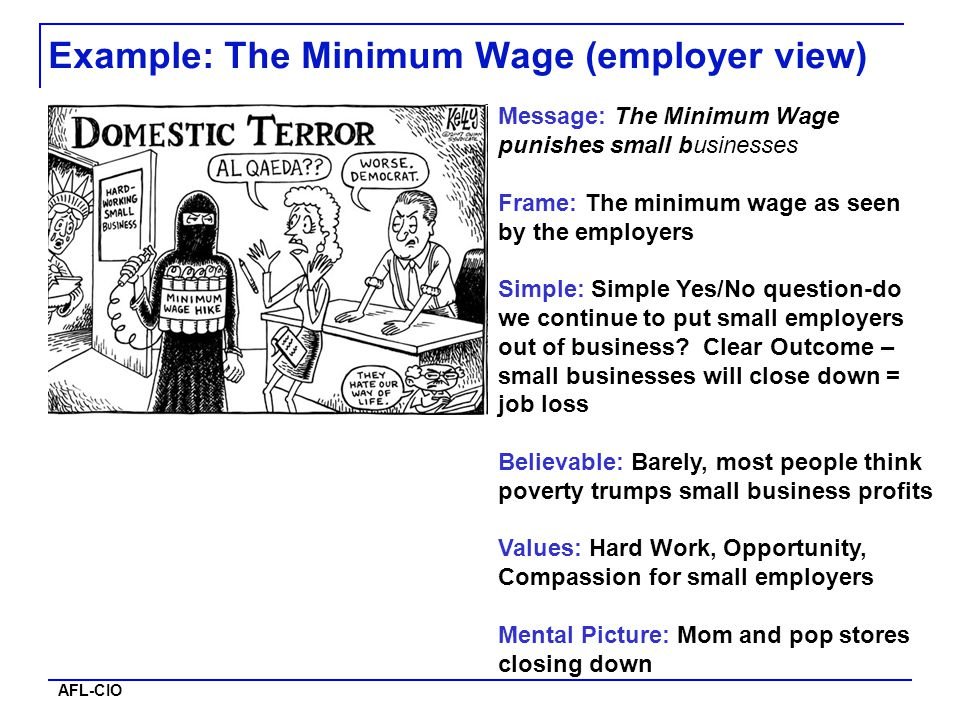 AFL-CIO Message: The Minimum Wage punishes small businesses Frame: The minimum wage as seen by the employers Simple: Simple Yes/No question-do we cont