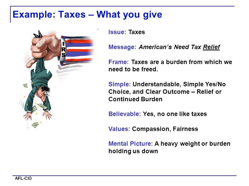 AFL-CIO Example: Taxes – What you give Issue: Taxes Message: American's Need Tax Relief Frame: Taxes are a burden from which we need to be freed. Simp