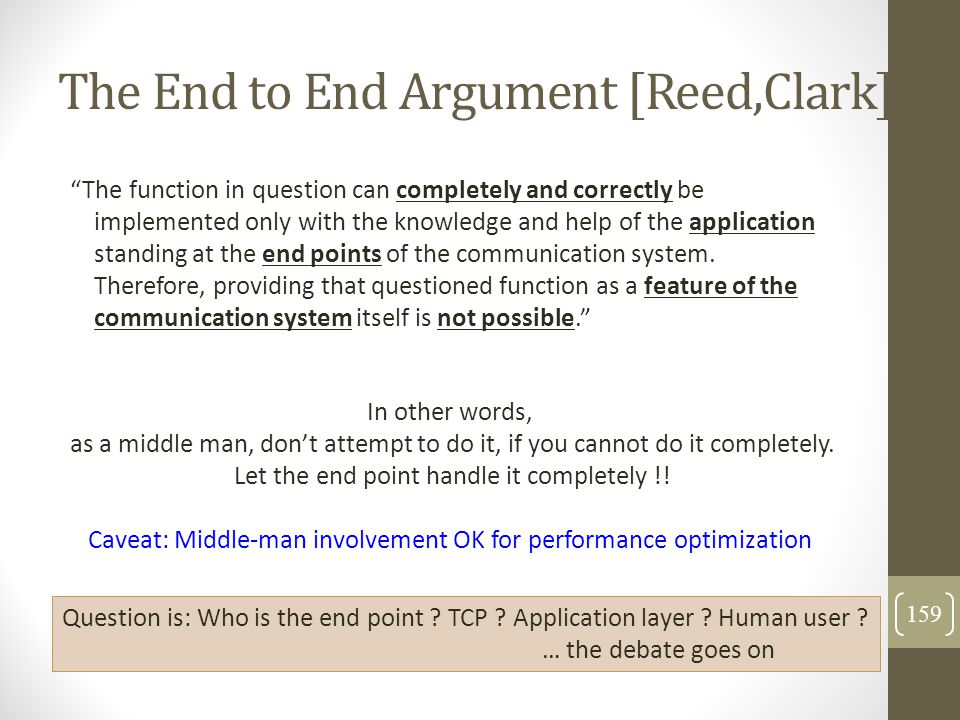 "The End to End Argument [Reed,Clark] ""The function in question can completely and correctly be implemented only with the knowledge and help of the app"