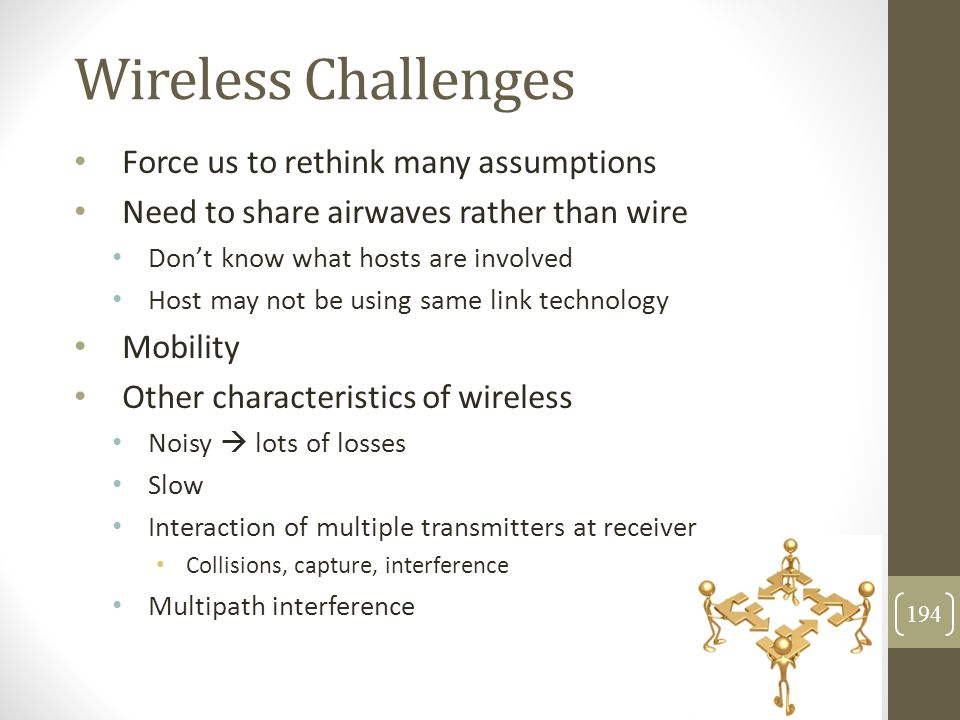 Wireless Challenges Force us to rethink many assumptions Need to share airwaves rather than wire Don't know what hosts are involved Host may not be us