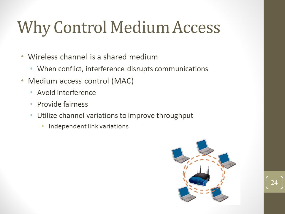 Why Control Medium Access Wireless channel is a shared medium When conflict, interference disrupts communications Medium access control (MAC) Avoid in