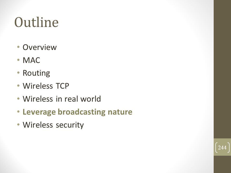Outline Overview MAC Routing Wireless TCP Wireless in real world Leverage broadcasting nature Wireless security 244