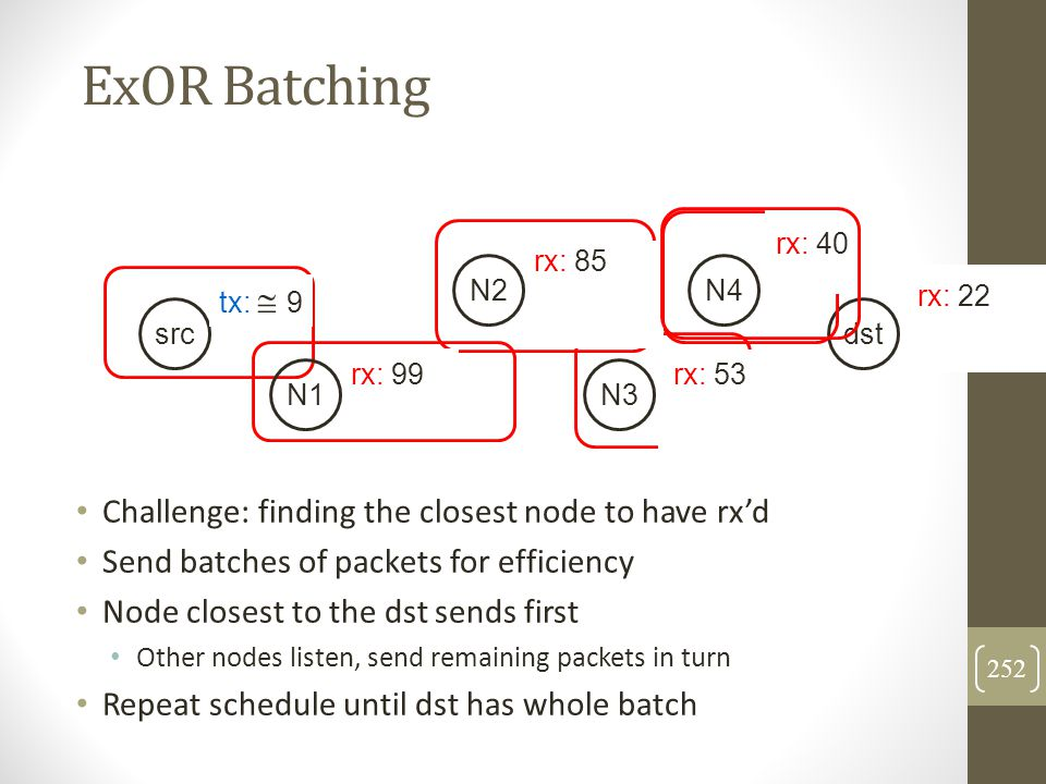 ExOR Batching Challenge: finding the closest node to have rx'd Send batches of packets for efficiency Node closest to the dst sends first Other nodes