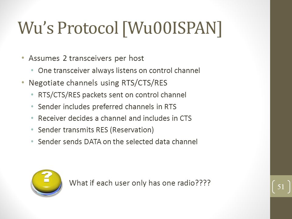 Wu's Protocol [Wu00ISPAN] Assumes 2 transceivers per host One transceiver always listens on control channel Negotiate channels using RTS/CTS/RES RTS/C
