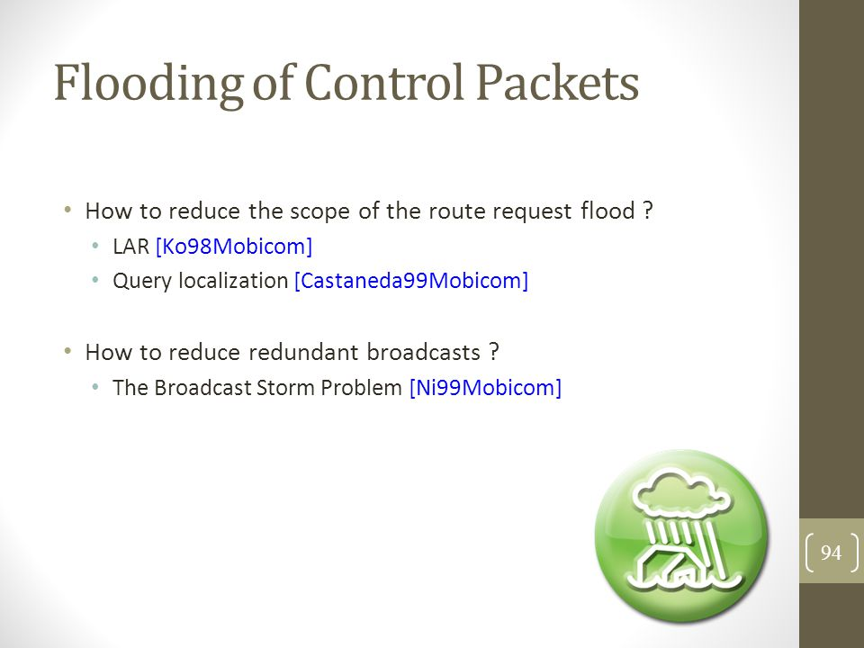 Flooding of Control Packets How to reduce the scope of the route request flood .