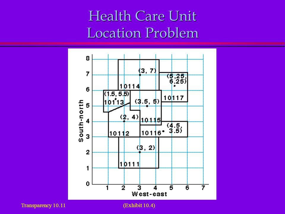 Health Care Unit Location Problem (Exhibit 10.4)Transparency 10.11