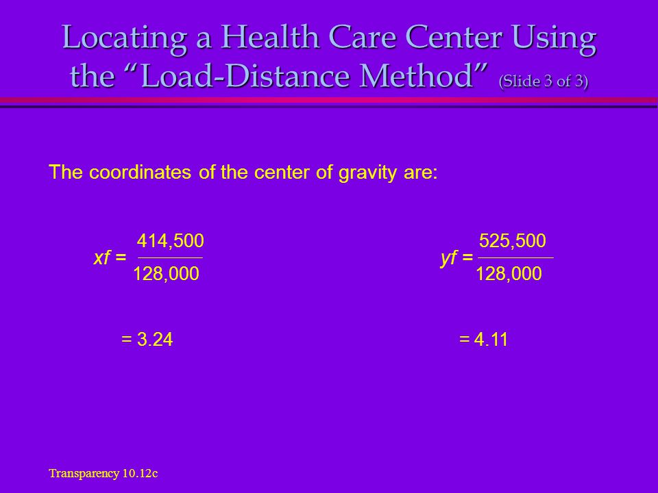Locating a Health Care Center Using the Load-Distance Method (Slide 3 of 3) The coordinates of the center of gravity are: xf = yf = 414,500 525,500 128,000 128,000 = 3.24 = 4.11 Transparency 10.12c