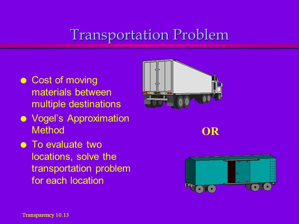 Transportation Problem l Cost of moving materials between multiple destinations l Vogel's Approximation Method l To evaluate two locations, solve the transportation problem for each location OR Transparency 10.13