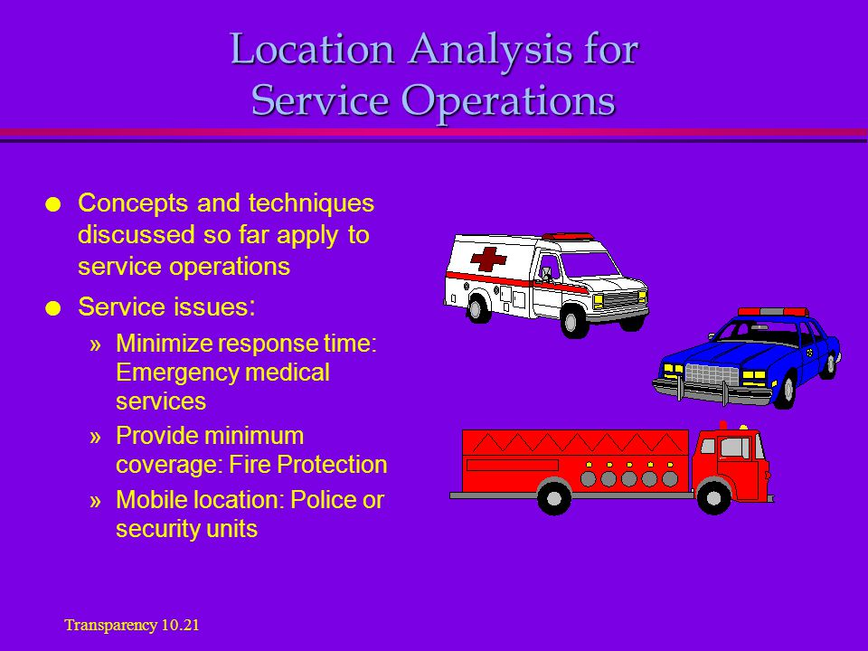 Location Analysis for Service Operations l Concepts and techniques discussed so far apply to service operations l Service issues : »Minimize response time: Emergency medical services »Provide minimum coverage: Fire Protection »Mobile location: Police or security units Transparency 10.21