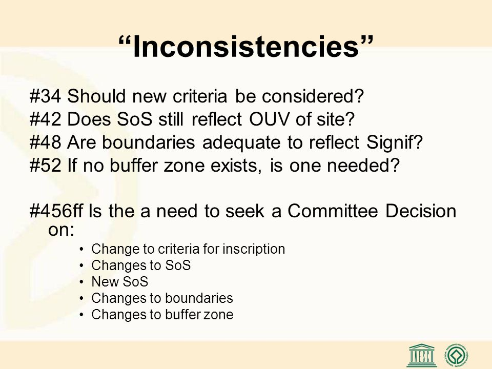 Inconsistencies #34 Should new criteria be considered.