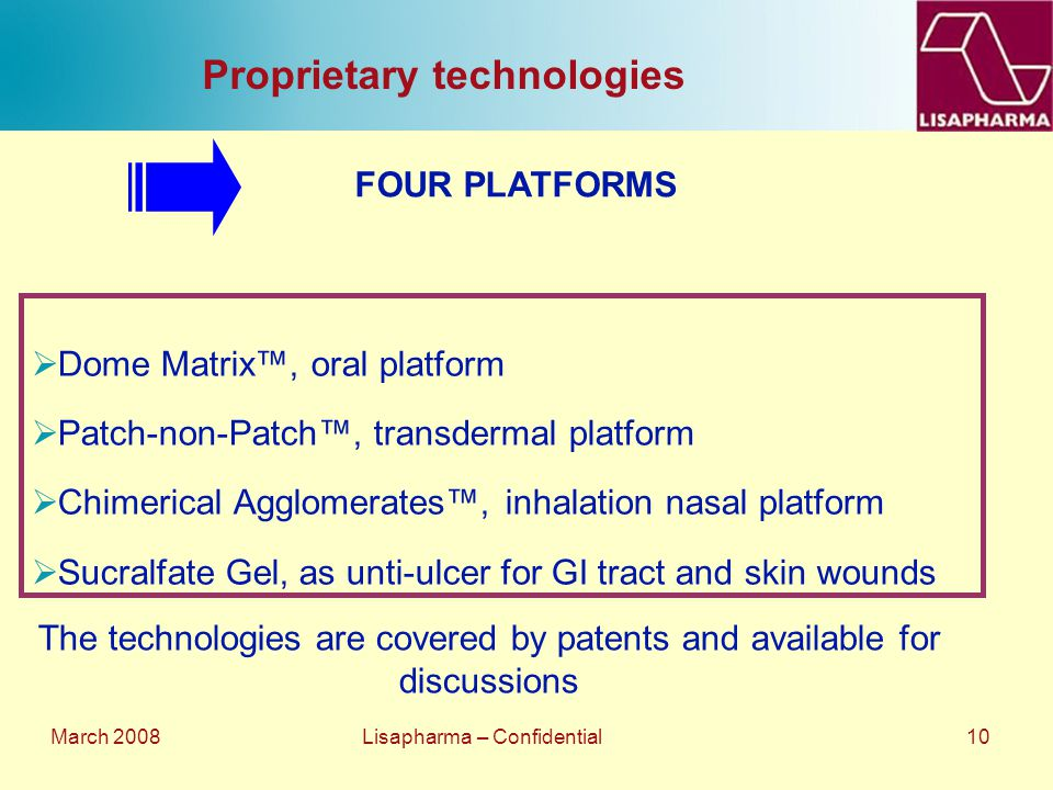 March 2008 Lisapharma – Confidential 10 Proprietary technologies  Dome Matrix™, oral platform  Patch-non-Patch™, transdermal platform  Chimerical A