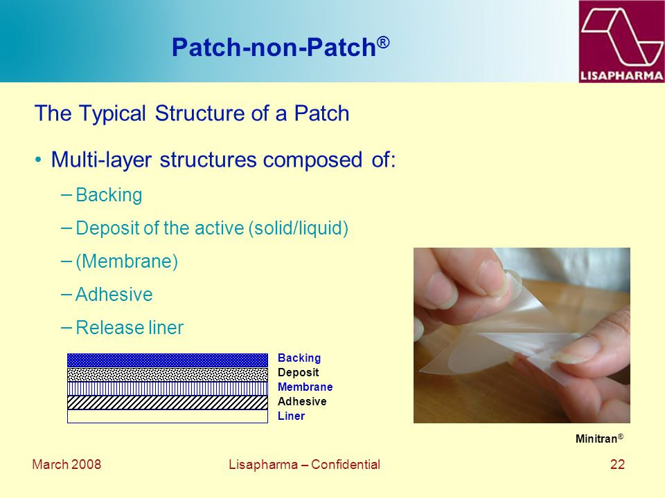 March 2008 Lisapharma – Confidential 22 Patch-non-Patch ® The Typical Structure of a Patch Multi-layer structures composed of: − Backing − Deposit of