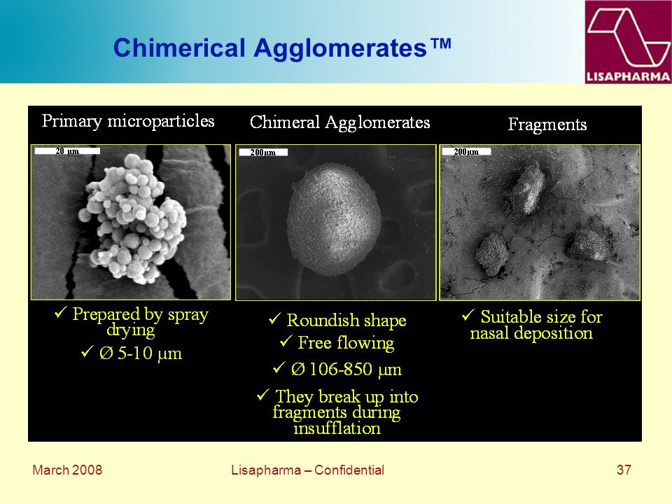 March 2008 Lisapharma – Confidential 37 Chimerical Agglomerates™