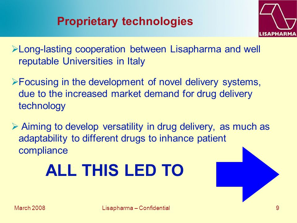 March 2008 Lisapharma – Confidential 9 Proprietary technologies  Long-lasting cooperation between Lisapharma and well reputable Universities in Italy