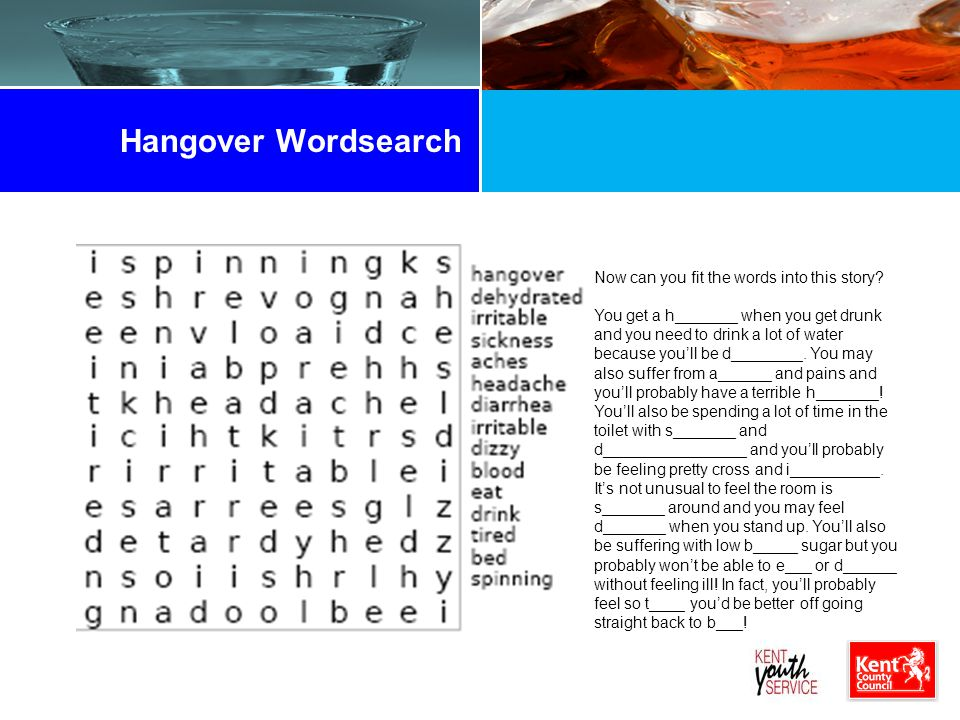 Hangover Wordsearch Now can you fit the words into this story.